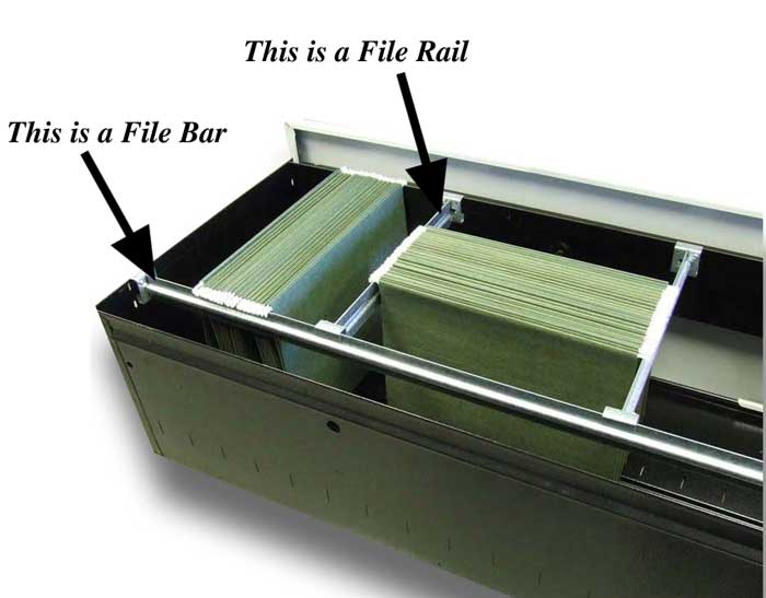 Filing cabinet bars-rails